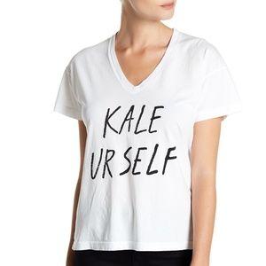 KALE YOURSELF White V-Neck Tee
